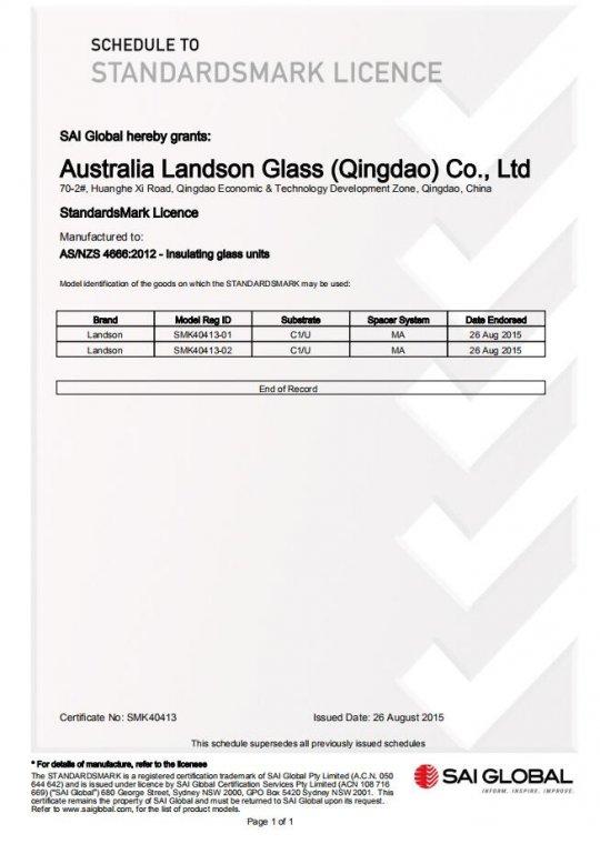 CERTIFICATION - AUSTRALIA LANDSON GLASS (QINGDAO) CO , LTD